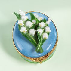 Limoges lily of the valley on blue round box