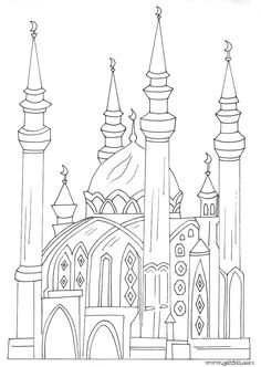 Jawaher_kids & Nisâa: Photo coloring mosques, coloring for small Day Camp Activities, Color Activities, Coloring Pages For Kids, Adult Coloring, Colouring Pages, Coloring Books, Ramadan Crafts, Islam For Kids, Islamic Paintings