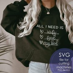 All I Need Is Wifi Food My Bed SVG Girl SVG For Shirts image 5 Shirts For Teens, T Shirts For Women, Cute Quotes For Kids, Youre The Bomb, Girls Tumbler, How To Make Tshirts, Perfectly Imperfect, Cricut, Household