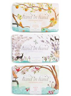 branding and packaging for a line of soap called Hand in Hand. For every bar of soap purchased, another bar is donated to a child in need