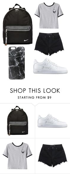 """black and white"" by celeste-pizana ❤ liked on Polyvore featuring NIKE, Chicnova Fashion, T By Alexander Wang, Casetify, women's clothing, women, female, woman, misses and juniors"