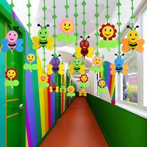 Kindergarten Decoration Classroom Corridor Environment Layout Mall hanging Flower Bee Non-woven fabric double-sided Pendant Classroom Ceiling Decorations, Classroom Wall Decor, Kindergarten Classroom Decor, Preschool Decor, School Door Decorations, Daycare Crafts, Crafts For Kids, Classroom Board, Diy Crafts