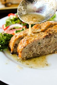 1770 House Meatloaf with Garlic Sauce from The Food Charlatan. This Ina Garten Meatloaf recipe is the best I've ever had. It's tender, moist, and flavorful. The delectable garlic meatloaf sauce makes it extra fancy and tasty. Meatloaf Sauce, Best Meatloaf, Meatloaf Recipes, Pork Recipes, Cooking Recipes, Pork Meatloaf, Homemade Meatloaf, Amish Recipes, Dutch Recipes