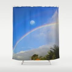 Rainbow Moon-Crystal Ball Shower Curtain by crismanart Crystal Ball, Shower Curtains, Moon, Rainbow, Crystals, Prints, The Moon, Rain Bow, Rainbows