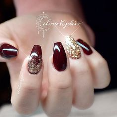 Fresh And Trendy Ways To Match Your Prom Nails Colors With Your Dress: Nails Colors For Burgundy Prom Dress  #prom; #nails; #nailart; #naildesign