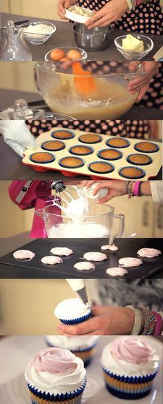 Quinta receta de Cupcake Maniacs: Cupcakes de chocolate blanco decorados con nubes caseras