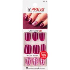 Elegant Rhinestones Coffin Nails Designs - New Ideas Kiss Nails, Toe Nails, Kiss Press On Nails, Stick On Nails, Glue On Nails, Impress Nails Press On, Fake Nails For Kids, Luxury Nails, Nail Manicure
