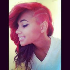 Red hair with undercut! Wish I could bring myself to do a hairstyle like this!