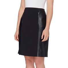 Tahari Arthur S. Levine Petite Solid Pencil Skirt ($63) ❤ liked on Polyvore featuring skirts, black, petite, faux-leather pencil skirts, quilted skirt, knee length pencil skirt, faux-leather skirts and pencil skirt