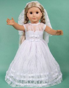 Doll Clothes for 18'' American Girl Handmade Wedding Dress/Gown*veil b9