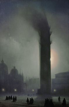 Nocturne with fog in Piazza San Marco - Ippolito Caffi Italian 1809-1866  Oil on 35a406db49b