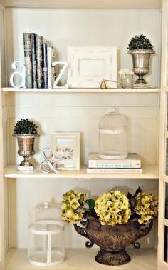 book shelf display — this would be awesome if I could figure out how to have extra unused bookshelf space...