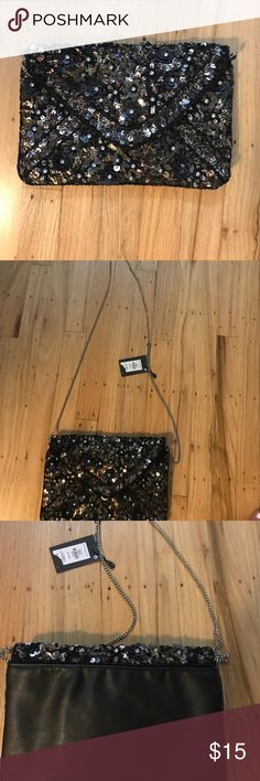 NWT Beaded Clutch Silver chain gold and black beading and sequins Atmosphere Bags