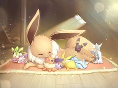 Too adorable!  ...  leafeon, sylveon, eevee, flareon, espeon, jolteon, vaporeon, umbreon, glaceon, pokemon