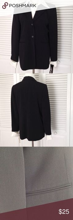 Black Blazer NWT Petite NWT Black Blazer with very small dots printed in the black material. Never worn.  Poly with poly lining. Machine washable.  Maybe from the 80's, can't remember when I bought it. Nice weight Blazer for summer. Requirements Jackets & Coats Blazers