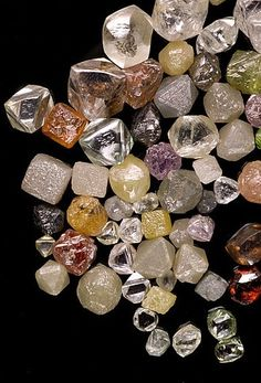 Have you ever seen diamonds in the Rough form? Check this out! Diamonds of all colors and sizes!