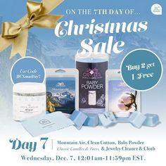 Now is a great time to get some jewelry cleaner and cleansing cloths with our buy 2 get 1 free sale! You can also get a Mountain Air Clean Cotton or Baby Powder classic candle or tart.  jicbyjulie.com  #jicbyjulie #day7 #12days #Christmas