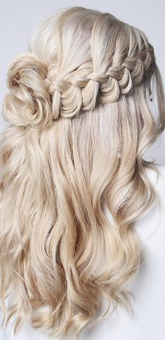 48 Our Favorite Wedding Hairstyles For Long Hair ❤ favorite wedding hairstyles. <img> 48 Our Favorite Wedding Hairstyles For Long Hair ❤ favorite wedding hairstyles long hair half up half down with bun and braids on curly blonde hair blushandmane - Wedding Hairstyles For Long Hair, Bride Hairstyles, Easy Hairstyles, Elegant Hairstyles, Gorgeous Hairstyles, Drawing Hairstyles, Everyday Hairstyles, Straight Hairstyles, Long Hair Wedding Styles