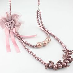 Brown corsage + semences + perle + strass Collier en tissu artistique double couche