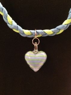 Braided Paracord and Heart Lampwork by KreAtionsbyKimAnglin, $22.00