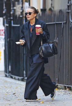 Olsens Anonymous Fashion Blog Mary Kate Olsen Twins Satin Blazer The Row Croc Bag Button Down Shirt Wide Leg Pants Flatform Shoes