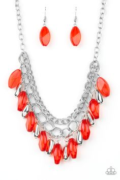 856aaa6e0 A row of thick silver chain, faceted silver and glassy red beads swing from  the