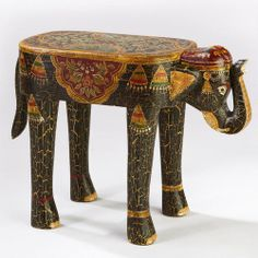 Painted Elephant Wood Accent Table