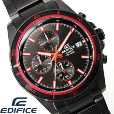 HAPIAN: I move カシオエディフィス watch men CASIO EDIFICE chronograph phosphorescence calendar foreign countries model deep-discount black red present gift brand analog popularity WATCH tokei and Kei arm and am Red Watches, Watches For Men, Red Color Combinations, Casio Edifice, Popular Watches, Fathers Day Gifts, Chronograph, Goodies, Japan