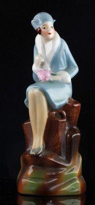 ART DECO German Half Doll STYLE FLOWER FROG - HATPIN HOLDER LADY IN BLUE