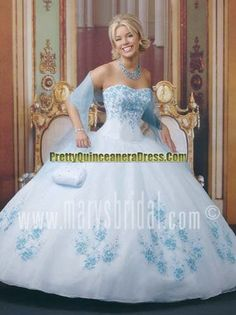 Beautiful ball gown strapless shawl light blue quinceanera gown ...