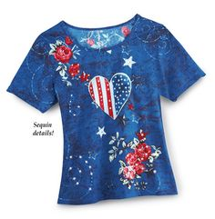 Collections Etc Women's Patriotic Country Roses and Heart Sequins Scoop Neck Short Sleeve T-Shirt Top Collections Etc, Printing On Burlap, Patriotic Decorations, Plus Dresses, Branded T Shirts, Shirt Sleeves, Summer Outfits, Scoop Neck, Country