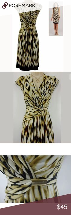 """20W 2X SEXY IKAT PRINT FAUX-WRAP DRESS Plus Size We love this sexy, gorgeous, faux-wrap dress for a day or evening occasion ~ Size: 20W Back zip Surplice neckline  Beautiful ikat print in neutral colors Gold hardware - left side of waist Stretchy, comfortable fabric Lined Measurements: Bust (armpit to armpit): 51"""" relaxed - stretches to 59"""" Waist: 45"""" relaxed - stretches to 52"""" Hips: 56"""" relaxed Length: 42"""" (top of shoulder to bottom hem)  Condition: PRISTINE CONDITION!   Fabric Content: 95%…"""