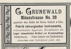 Königsberg (Pr.), Münzstraße, Fabrik chirurgischer Instrumente, G. Grunewald