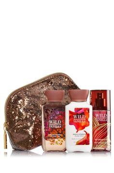 Wild Madagascar Vanilla - Sparkle & Shine Cosmetic Bag - Bath & Body Works - Glam up your gift-giving with this glittering cosmetic bag! Set includes everything she needs to stay fragranced on-the-go with travel-sized Shower Gel, Body Lotion and Fine Fragrance Mist (3 fl oz each).
