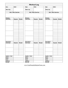 Printable Exercise Log  Free Printable Workout Logs  Fitness