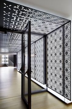 Wow. Custom element by Eventscape for KAUST in Jeddah, KSA.  It's a thin profile polymer LED light wall and ceiling & is overlaid with laser cut and etched steel panels.