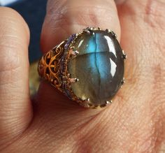 Natural Malagasy Labradorite and Tanzanite Ring in 14K Yellow Gold and Platinum Over 925 Sterling Silver Size 7 HUGE 16.790 CARATS by lolasgemboutique on Etsy https://www.etsy.com/listing/543549823/natural-malagasy-labradorite-and