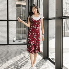 #envylook Cotton Tee and Ribbed Floral Dress Set #koreanfashion #koreanstyle #kfashion #kstyle #stylish #fashionista #fashioninspo #fashioninspiration #inspirations #ootd #streetfashion #streetstyle #fashion #trend #style
