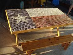 Texas Flag Bottlecap Picnic Table via Etsy.