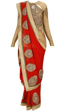 Burnished gold meenakari long blouse with panelled dhoti pants and half red sari available only at Pernia's Pop-Up Shop.