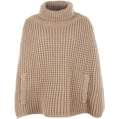 Dolce & Gabbana Beige Chunky Cable Knit Poncho Sweater found on Polyvore