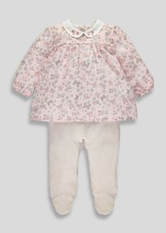 Girls Floral Sleepsuit (Tiny Baby-12mths)