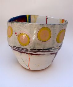 Vessel with pale yellow and peach discs on grey/white lustred ground with deep red oblongs splashed and flicked with gold, 28cms x 32cms