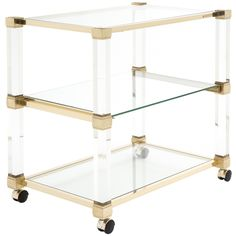 French Brass & Lucite Bar Cart by Pierre Vandel