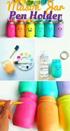 out the tutorial: Mason Jar Pen Holder DIY Home Decor Ideas - Industr. Check out the tutorial: Mason Jar Pen Holder DIY Home Decor Ideas - Industr., Check out the tutorial: Mason Jar Pen Holder DIY Home Decor Ideas - Industr. Easy Diy Crafts, Fun Crafts, Crafts For Kids, Diy Crafts Room Decor, Cute Diy Crafts For Your Room, Fun And Easy Diys, Diy Home Decor For Teens, Diy Crafts For School, Diy Crafts For Bedroom