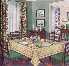 1950s Traditional Dining Room by American Vintage Home, via Flickr