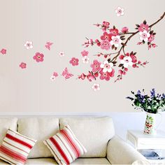 beautiful Sakura wall stickers living bedroom decorations 739. diy flowers home decals mural arts adesivos de paredes poster 3.5