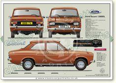 Ford Escort Mk1 2dr 1968-74 classic car portrait print