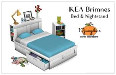 Sims 4 CC's - The Best: Brimnes Bed and Nightstand by 13pumpkin31