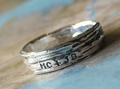 For greenies in need of a wedding band: the 'bark' wedding band in recycled silver